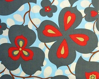 OOP Amy Butler - Morning Glory - Blue and Red - by the Yard - Designer Fabric - Lotus Collection