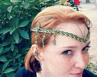 ON SALE Emerald Celtic Irish Wedding Circlet Tiara the Galadriel