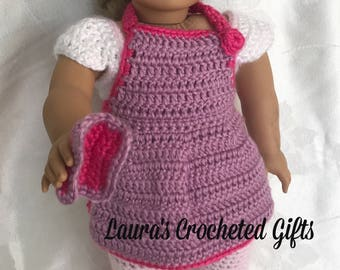 Doll Apron and Potholder, Handmade Crochet Doll Clothes, Doll Apron, Purple Doll Apron, Accessories for 18 inch Doll, Baking Apron for Doll