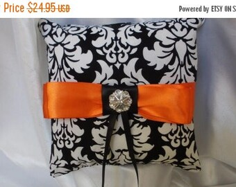 ON SALE DAMASK Ring Bearer  Pillow  Black White Dandy damask Wedding Halloween With Tangerine Orange Or Your Choice of Ribbon Color