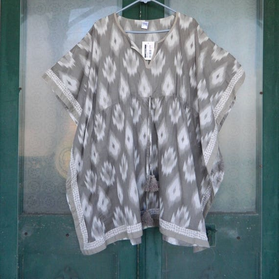 Sparkle Designs Coverup Tunic -OS- Gray/White Ikat Cotton NWT