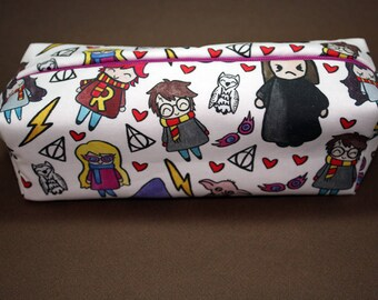 Boxy Makeup Bag- Harry Potter Cast Doodle- Pencil Pouch - Hermione Granger, Ginny & Ron Weasley, Severus Snape, Luna Lovegood