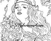 Rose Princess  Medieval INSTANT DOWNLOAD Digi Stamps fantasy Digi fantasy art By Katerina Art