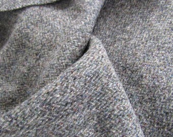BTY Authentic Handwoven HARRIS Tweeds Wool Fabric Charcoal Gray HERRINGBONE Scotland Original Stamp & Tags Clothing Sewing Home Decor