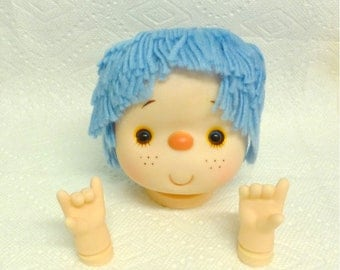 Doll Head  Light Blue Yarn Hair 4 1/2 Inches