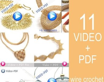 On SALE 20% - Unique Jewelry Crochet Pattern Combo Video tutorial PDF step by step instructions. 11 Amazing Jewelry designs