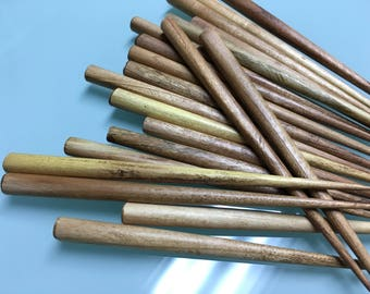 10 pieces (5 pairs) of LIGHT BROWN Stained Wood Hair Stick -- 6 inches long