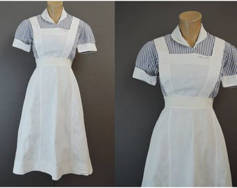 Vintage 1950s Nurse Uniform with Apron & Bib, 33 bust, Student Nurse, Blue Striped Cotton