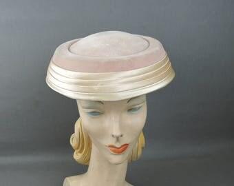 Vintage Pink Hat Velvet & Satin Saucer Hat, 21 inch head 1950s 1960s