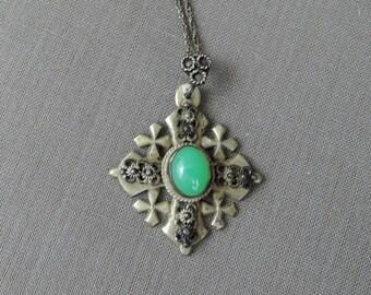 Vintage Necklace Jerusalem Crusader's Cross,  Maltese Cross with Chrysoprase stone, Jordan Sterling Silver 900