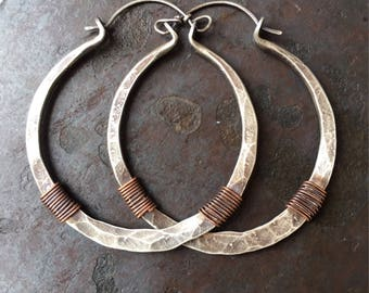 Sterling Silver Hoop Earrings Silver Hoops Wire Wrap Earrings Rustic Hoop Earings Tribal Hoops DanielleRoseBean Silver Hoops Big Silver Hoop