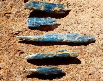 5 Steel Blue African Kyanite Raw Crystal Blades