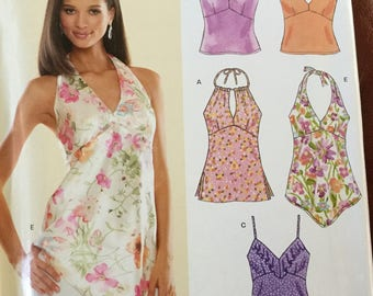 New Look 6486 Summer Top Pattern several lengths and necklines, size 8-18, uncut