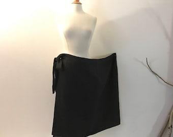 black linen minimalist mid calf length wrap skirt only ready to wear