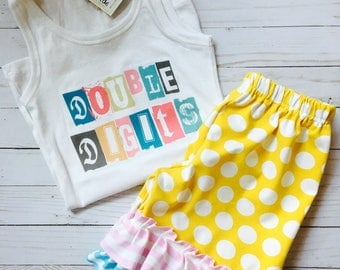 Double Digits Ruffle t shirt or tank top 10th tenth birthday 10 personalized with name and matching knot ruffle shorts