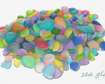 Fine Art Print of SEA GLASS Colored Pencil rendering