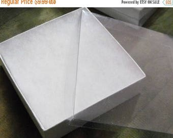 Summer Sale 20 Pack 3.5X3.5X1 inch Clear Top White Foil Swirl Cotton Filled Jewelry Retail Gift Boxes