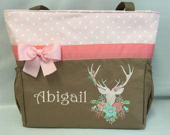 DEER with Flowers  ...  Diaper Bag TOTE  ... Coral Taupe Pink ... Bottle Pockets