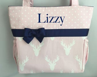 DEER  in PINK Silhouette and Dots   .. DIAPER  Bag  ... Bottle Pockets