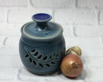 Garlic Jar - Ceramic Garlic Jar - Pottery Jar - Garlic Keeper - Kitchen Organization - Kitchen Canister - Storage Jar - Candy or Trinket Jar