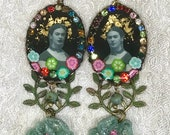 RESERVED  - Lilygrace Frida Black Cameo Earrings with Vintage Rhinestones, and Turquoise and Beads
