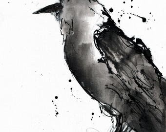 Crow drawing on canvas A4 (20x30cm) - Abstract raven ink painting - sitting bird