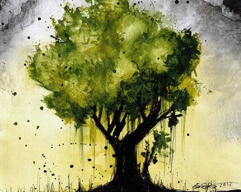 tree art PRINT - select 8x6in or 8x12in or 16x12in A5 A4 A3