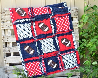 Football Quilt - Navy / Red Crib Bedding - Football Nursery Baby Blanket Size Quilt - Baby Boy Rag Quilt- Sport Nursery Decor - SportQuilt