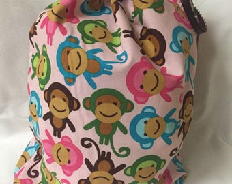 Fabric Gift Bag  Eco Friendly Bag  Drawstring Reuseable wrap --size 10.5 inches x 12 inches Pink Monkeys