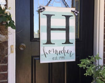 Established sign | Front door sign |  Custom sign |  Personalized name sign | Housewarming gift | Wedding gift |