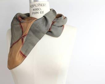 Vintage Silk Scarf | Large Square Silk Scarf | Autumnal Scarf