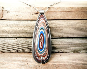 Fordite necklace, Detroit Agate necklace, fordite jewelry, sterling silver statement necklace, girlfriend gift, wife gift for her, gemstone