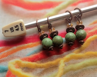 Copper Turquoise Stitch Markers