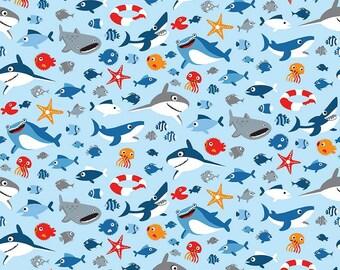 Sharktown, By Shawn Wallace Sea Life Blue C6351-Blue
