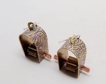 Mixed metal jewelry .copper  earrings