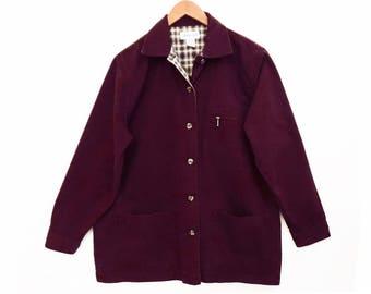 90's cotton CHORE JACKET // barn coat // burgundy long utility jacket // women's size L