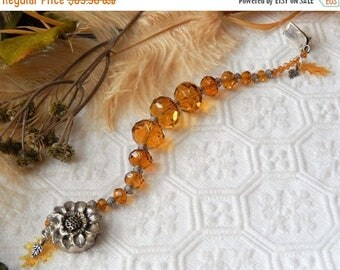 ChristmasInJulySALE..... Sale......One of a Kind Plus Size Sterling, Amber Crystal and Vintage Lucite Bracelet