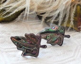 Vintage Taxco Signed ETM Sterling Silver Abalone Leaf Screw Back Earrings