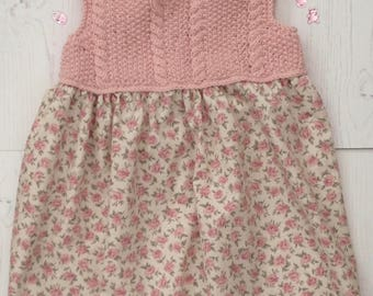 Rosebud Knitted Bodice Baby Dress (Pink)