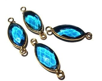 Sale 45% off 22kt Gold Vermeil AAA Swiss Blue Quartz Faceted Marquise Shape Bezel Connectors, 2Pcs 1 Pair 30x12mm 22Kt Gold Over 925 Sterlin