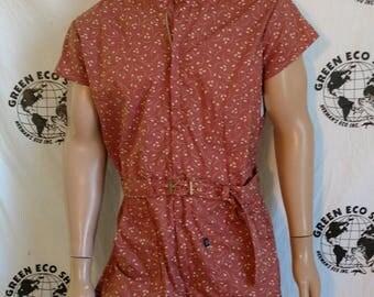 Mens Romper shorts  42 L leaves print Anna Herman USA jumpsuit cotton