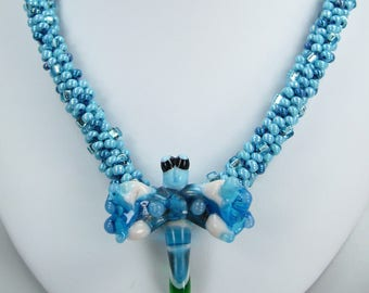 Handmade Beaded Kumihimo Necklace with Dragon Fly Lampwork Pendant and Earrings