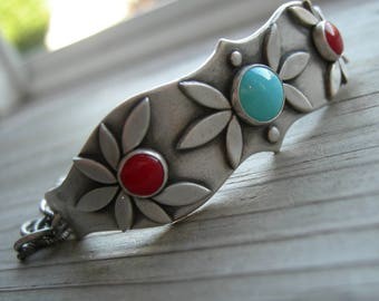 RESERVED for Erin Artio's Awakening Silver Goddess Bracelet Sterling Turquoise PMC Artisan Jewelry