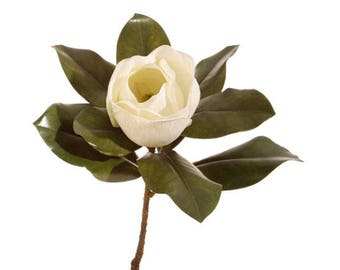 "Artificial Magnolia Floral Stem For Wreaths, Decor and Bouquets - 16.5"" - First Rate Quality"