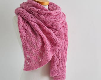 Lace knitted shawl, violet, pink
