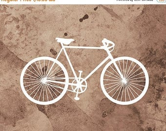 50% Off Summer Sale - Bicycle Art Print - (brown and white) - 8x10 Print - Home Decor