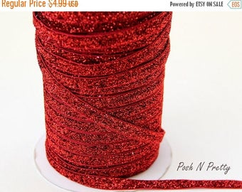 20% OFF EXP 06/30 3/8 Glitter Stretch Velvet Elastic 5 YARDS - No Flake - Red