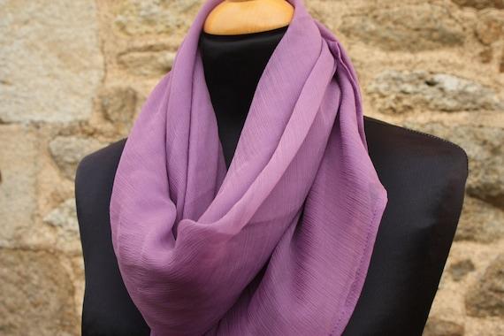 Shawl, scarf, square chiffon silk purple, Violet.