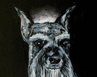 20 % off storewide schnauzer art- angel,halo, modern dog art, schnauzer print, schnauzer, dog, dog print,