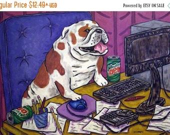 20 % off storewide Bulldog art PRINT poster gift dog modern folk computer JSCHMETZ